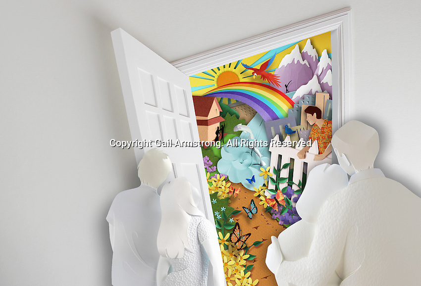 Paper sculpture image of family looking through open front door to paradise beyond.