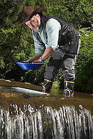 National Park Thueringer Wald, Thueringen, Germany, June 2009. A gold panner shows his tricks in one of the creeks along the Gold Trail. Many hiking trails such as the famous Rennsteig and the Goldpfad cross the Thuringia Forest. Photo by Frits Meyst/Adventure4ever.com