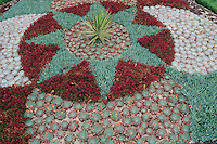 A mandala made from Sedums, Iceplants and Semperviviums is one of many  things to see at the Dublin, Ireland, Botanic Garden