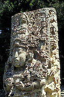Close up of Stela H at the Mayan ruins of Copan, Honduras