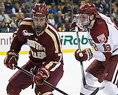 Isaac MacLeod (BC - 7), Jimmy Vesey (Harvard - 19) - The Boston College Eagles defeated the Harvard University Crimson 4-1 in the opening round of the 2013 Beanpot tournament on Monday, February 4, 2013, at TD Garden in Boston, Massachusetts.