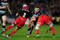 Henry Thomas of Bath Rugby takes on the Saracens defence. Aviva Premiership match, between Bath Rugby and Saracens on April 1, 2016 at the Recreation Ground in Bath, England. Photo by: Patrick Khachfe / Onside Images