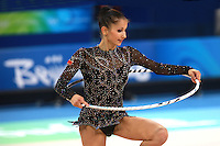 August 23, 2008; Beijing, China; Rhythmic gymnast Simona Peycheva of Bulgaria performs with hoop on way placing 10th in the Individual All-Around final at 2008 Beijing Olympics..