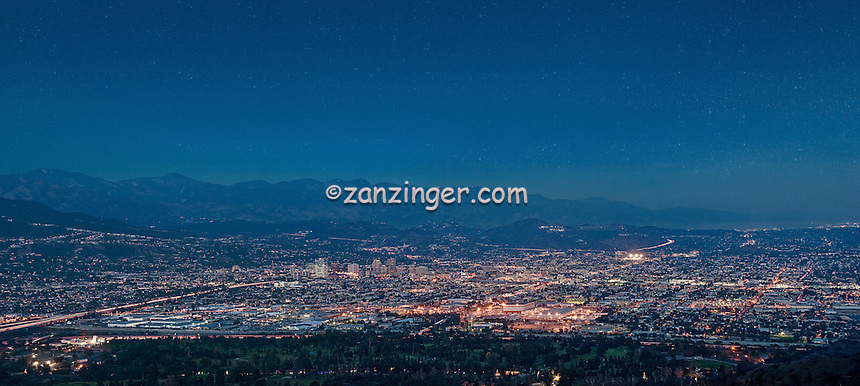 Burbank,Glendale, Pasadena, San Gabriel Mountains, Cityscape, Night, Dusk, lit, lights on, beautiful, Calif. California