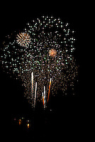 Colorful fireworks bursts at night.