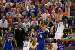 31 MAR 2012:  Terrence Jones (3) of the University of Kentucky dunks  over Justin Wesley (4) of the University of Kansas in the championship game of the 2012 NCAA Men's Division I Basketball Championship Final Four held at the Mercedes-Benz Superdome hosted by Tulane University in New Orleans, LA. Kentucky defeated Kansas 67-59 to win the national title. Brett Wilhelm/NCAA Photos