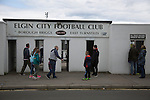 Elgin City 3 Edinburgh City 0, 13/08/2016. Borough Briggs, Scottish League Two. A home supporter arriving at the turnstiles at Borough Briggs, home to Elgin City, on the day they played SPFL2 newcomers Edinburgh City. Elgin City were a former Highland League club who were elected to the Scottish League in 2000, whereas Edinburgh City became the first club to gain promotion to the League by winning the Lowland League title and subsequent play-off matches in 2015-16. This match, Edinburgh City's first away Scottish League match since 1949, ended in a 3-0 defeat, watched by a crowd of 610. Photo by Colin McPherson.