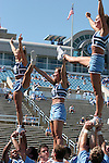 02 September 2006: UNC cheerleaders. The University of North Carolina Tarheels lost 21-16 to the Rutgers Scarlett Knights at Kenan Stadium in Chapel Hill, North Carolina in an NCAA Division I College Football game.