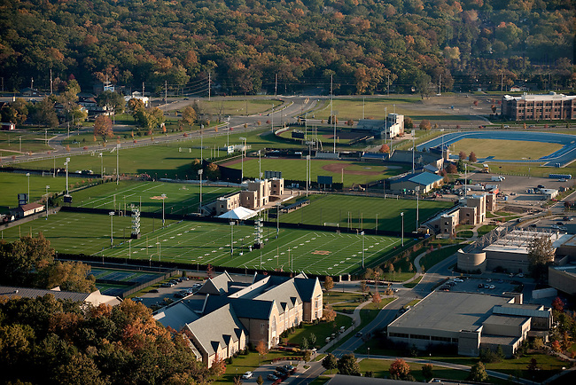 Athletics complex on the east side of campus, showing Melissa Cook Softball Stadium, the outdoor track, Eck, Baseball Stadium, Arlotta Lacrosse Stadium, Alumni Soccer Stadium, and the LaBar Football Practice Complex...Photo by Matt Cashore/University of Notre Dame