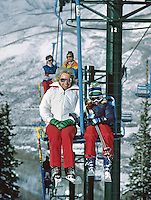 Ethel Kennedy (left) on ski lift at Aspen with daughter Rory (10), December 1978. Photo by John G. Zimmerman