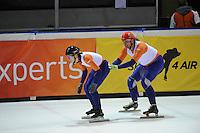 SHORTTRACK: AMSTERDAM: 04-01-2014, Jaap Edenbaan, NK Shorttrack, Prominenten Relay, Annita van Doorn, Jan Hoogeveen, ©foto Martin de Jong