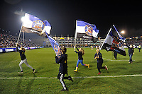 A general view of Bath Rugby flags prior to kick off. European Rugby Challenge Cup match, between Bath Rugby and Cardiff Blues on December 15, 2016 at the Recreation Ground in Bath, England. Photo by: Patrick Khachfe / Onside Images
