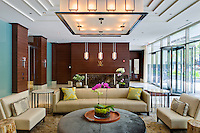 The foyer of  Walton on the Park, an upscale luxury living rental community on Chicago's Gold Coast. Contructed by Lend Lease and designed by Pappageorge Haymes Partners.