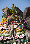 Monkeys feast on the Fruit Display at the Monkey Festival