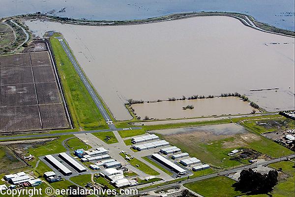 aerial photograph Shellville airport,flooding Sonoma County, California