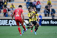 Roy Krishna ( phoenix ) and Michael Marrone ( Adelaide ) in action during the A League - Wellington Phoenix v Adelaide United at Hutt Recreational Ground, Lower Hutt, New Zealand on Saturday 7 March 2015. <br /> Photo by Masanori Udagawa. <br /> www.photowellington.photoshelter.com.