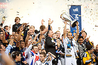 CARSON, CA-DECEMBER 1, 2012 -  Landon Donovan hoists the trophy after winning the 2012 MLS Cup Championship at the Home Depot Center in Carson, CA.  The LA Galaxy defeated the visiting Houston Dynamo 2-1 to repeat as Cup champions.