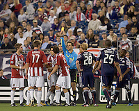 Yellow card to Chivas USA midfielder Ben Zemanski (21). Chivas USA defeated the New England Revolution, 4-0, at Gillette Stadium on May 5, 2010.