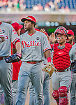 23 May 2015: Philadelphia Phillies infielder Maikel Franco celebrates a win against the Washington Nationals at Nationals Park in Washington, DC. The Phillies defeated the Nationals 8-1 in the second game of their 3-game weekend series. Mandatory Credit: Ed Wolfstein Photo *** RAW (NEF) Image File Available ***