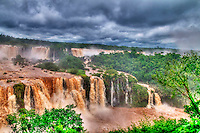 View of the Iguasu falls , Iguasu falls are the largest series of waterfalls on the planet located in the three borders of Brasil Argentina and Paraguay