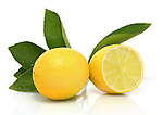 Whole and sliced organic lemons with leaves on white background