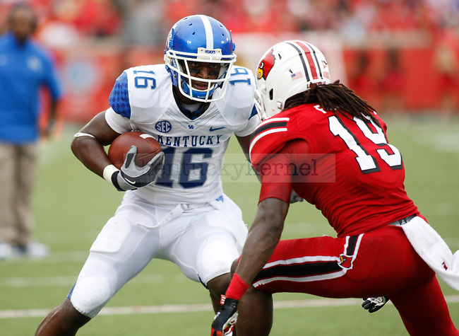 Senior wide receiver La'Rod King during the second half of the UK vs. UL football game at Papa John's Cardinal Stadium in Louisville, Ky., on Sunday, September 2, 2012. Photo by Tessa Lighty | Staff
