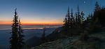 "PANORAMA: Mt. Baker awaits the coming sunrise as a crescent moon hangs over the Strait of Juan de Fuca, Port Townsend and Whidbey Island, and at left, the 5 mile long Dungeness Spit. View from Deer Park in Olympic National Park. (17"" X 35"" panorama)"