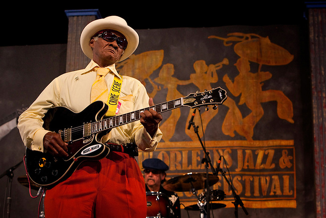 Mississippi born blues guitarist Little Freddie King of the Little Freddie Blues Band performing on the Blues Tent stage at the New Orleans Jazz and Heritage Festival at the New Orleans Fair Grounds Race Course in New Orleans, Louisiana, USA, 30 April 2009.