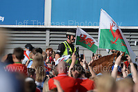 The horseback police patrol amongst the fans during the homecoming celebrations at the Cardiff City stadium on Friday 8th July 2016 for the Euro 2016 Wales International football squad.<br /> <br /> <br /> Jeff Thomas Photography -  www.jaypics.photoshelter.com - <br /> e-mail swansea1001@hotmail.co.uk -<br /> Mob: 07837 386244 -