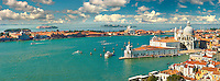 Panorama of The punta della doganaand  Santa Maria della Salute on the Giudecca Canal, Venice Italy