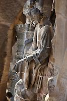 Judas Thaddaeus, the Apostle, sculptures by Llorenç Matamala i Piñol, Nativity façade, La Sagrada Familia, Roman Catholic basilica, Barcelona, Catalonia, Spain, built by Antoni Gaudí (Reus 1852 ? Barcelona 1926) from 1883 to his death. Still incomplete. Picture by Manuel Cohen