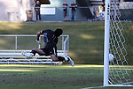 10 November 2010: Wake Forest's Akira Fitzgerald is beaten for a goal by Virginia's Hunter Jumper (not pictured). The University of Virginia Cavaliers defeated the Wake Forest University Demon Deacons 1-0 at Koka Booth Stadium at WakeMed Soccer Park in Cary, North Carolina in an ACC Men's Soccer Tournament Quarterfinal game.