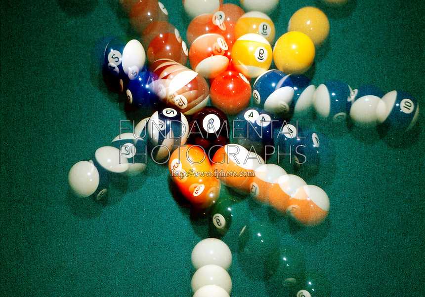 TRANSFER OF ENERGY - BILLIARD BALL BREAK <br /> Cue Ball Strikes Target Ball<br /> After strike the cue ball transfers all its energy to forward momentum of target ball and into pool ball rack.
