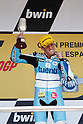 May 2, 2010 - Jerez, Spain  - Tuenti Racing's Pol Espargaro celebrates on the podium after winning the 125 cc race of the Spanish Grand Prix at the Jerez racetrack on May 2, 2010 in Jerez de la Frontera. (Photo Andrew Northcott/Nippon News).