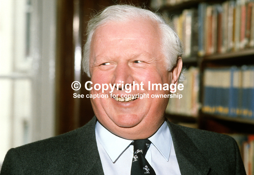 James Prior, Secretary of State for N Ireland, MP, Conservative Party, UK, 19849927JP1.<br /> <br /> Copyright Image from Victor Patterson, 54 Dorchester Park, Belfast, UK, BT9 6RJ<br /> <br /> t1: +44 28 9066 1296  (from Rep of Ireland 048 9066 1296)<br /> t2: +44 28 9002 2446  (from Rep of Ireland 048 9002 2446)<br /> m: +44 7802 353836<br /> <br /> e1: victorpatterson@me.com<br /> e2: victorpatterson@gmail.com<br /> <br /> www.victorpatterson.com<br /> <br /> IMPORTANT: Please see my Terms and Conditions of Use at www.victorpatterson.com<br /> <br /> It is IMPORTANT that you familiarise yourself with them. They are available on my website.<br /> <br /> Images used on the Internet must be visibly watermarked i.e. victorpatterson.com within the body of the image. Copyright metadata must not be deleted. Images used on the Internet have a size restriction of 4kbs and are chargeable at current NUJ rates.<br /> <br /> This image is only available for the use of the named download recipient i.e. television station, newspaper, magazine, book publisher, etc, and must not be passed on to any third party. It is also downloaded on condition that each and every future usage is notified within 7 days to victorpatterson@me.com