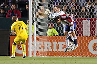 William Hesmer goal keeper for the Columbus Crew and Chivas USA forward Alejandro Moreno (15) battle in the box. Chivas USA and Columbus Crew played to a 0-0 tie at Home Depot Center stadium in Carson, California on  April  9, 2011....