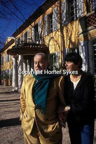Bernard Buffet French artist expressionist painter (1928-1999) France Circa 1995. With wife Annabel Schwob at their home in Tourtour Provence France.