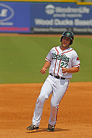 Down East Wood Ducks first baseman Chuck Moorman (22) running the bases during a game against the Salem Red Sox at Grainger Stadium on April 16, 2017 in Kinston, North Carolina. Salem defeated Down East 9-2. (Robert Gurganus/Four Seam Images)