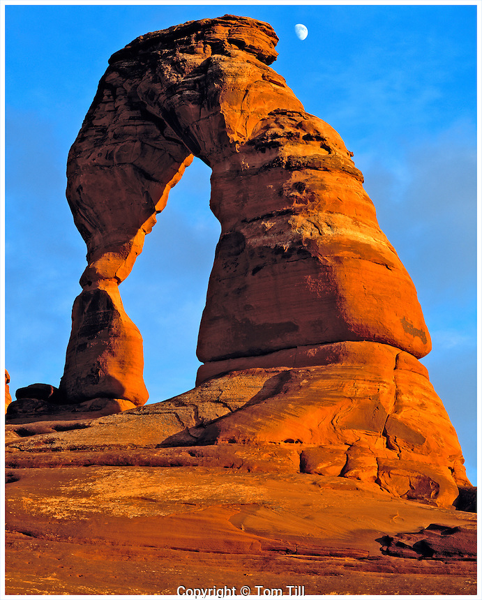 Delicate Arch and Moon, Arches National Park, Utah