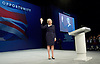 Conservative Party Conference <br /> Manchester, Great Britain <br /> Day 3<br /> 6th October 2015 <br /> <br /> <br /> <br /> Theresa May MP <br /> Home Secretary speech <br /> <br /> Photograph by Elliott Franks <br /> Image licensed to Elliott Franks Photography Services