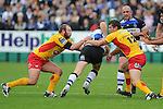 Tom Willis and Marc Stcherbina (Capt) team up to stop Nick Abendanon. Bath V Newport Gwent Dragons, Heineken Cup Pool 5 © Ian Cook IJC Photography iancook@ijcphotography.co.uk www.ijcphotography.co.uk