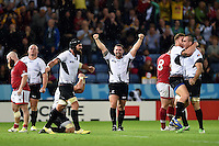 Andrei Radoi and the rest of the Romania team celebrate at the final whistle. Rugby World Cup Pool D match between Canada and Romania on October 6, 2015 at Leicester City Stadium in Leicester, England. Photo by: Patrick Khachfe / Onside Images