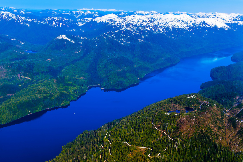 Aerial view flying between Ketchikan and Misty Fiords National Monument, southeast Alaska USA