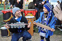 Jamma de Samba mingle with supporters prior to the match. European Rugby Challenge Cup match, between Bath Rugby and Pau (Section Paloise) on January 21, 2017 at the Recreation Ground in Bath, England. Photo by: Patrick Khachfe / Onside Images