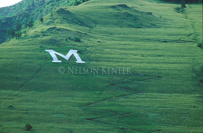 """Hikers on the popular """"M"""" trail on Mount Sentinel in Missoula, Montana"""