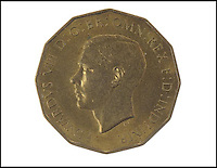 BNPS.co.uk (01202 558833)<br /> Pic: MellorKirk/BNPS<br /> <br /> *** Please use full byline***<br /> <br /> Three pence turns into &pound;30k.<br /> <br /> An incredibly rare coin bearing the head of King Edward VIII that was struck before he famously abdicated has emerged for sale for 30,000 pounds.<br /> <br /> The dodecahedron-shaped coin was an experimental piece produced by the Royal Mint after the death of King George V.<br /> <br /> Edward automatically succeeded his father but abdicated before his coronation so he could marry American divorcee Wallis Simpson.<br /> <br /> While commemorative Royal China was mass-produced to honour the new King, hardly any coins with his head on were created.