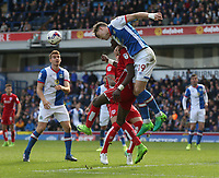 Blackburn Rovers' Sam Gallagher climbs above Bristol City's Tammy Abraham<br /> <br /> Photographer Stephen White/CameraSport<br /> <br /> The EFL Sky Bet Championship - Blackburn Rovers v Bristol City - Monday 17th April 2017 - Ewood Park - Blackburn<br /> <br /> World Copyright &copy; 2017 CameraSport. All rights reserved. 43 Linden Ave. Countesthorpe. Leicester. England. LE8 5PG - Tel: +44 (0) 116 277 4147 - admin@camerasport.com - www.camerasport.com