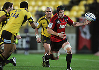 Matt Todd loses the ball forward. Super 15 rugby match - Crusaders v Hurricanes at Westpac Stadium, Wellington, New Zealand on Saturday, 18 June 2011. Photo: Dave Lintott / lintottphoto.co.nz