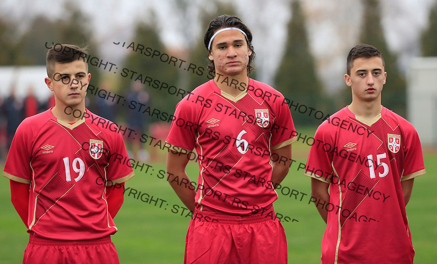 Fudbal soccer friendly match<br /> Srbija U17 v Madjarska U17<br /> Armin Djerlek Strahinja Bosnjak Nikola Lakcevic (R)<br /> Stara Pazova, 08.12.2015.<br /> foto: Srdjan Stevanovic/Starsportphoto &copy;