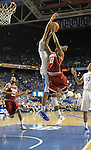 UK's Anthony Davis blocks Arkansas's B.J. Young during the first half of the University of Kentucky men's basketball game against Arkansas at Rupp Arena in Lexington, Ky., on 1/17/12. Anthony Davis set the UK single season block record on this block. Photo by Mike Weaver | Staff